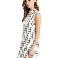 Plaid Sleeveless Mini Shift Dress
