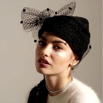 New 2017 Winter Knit Beanies Veil gauze women's knitted Hat Thermal Mesh Female Fashion party cap Star with money
