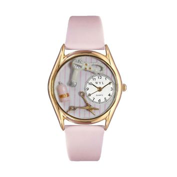 Beautician Female Pink Leather And Goldtone Watch