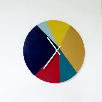 SALE Large Wall Clock, Trending Geometric Clock, Home Decor, Decor and Housewares, Rainbow Clock