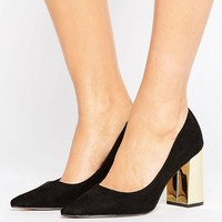 New Look Suedette Wide Fit Shoe with Gold Block Heel at asos.com