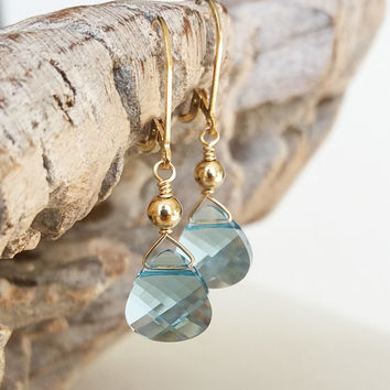 Aquamarine Earrings, Gold Aquamarine Earrings, Aquamarine Tear Drop Earrings, Gold Aquamarine Tear Drop Earrings, Aquamarine Tear Drop