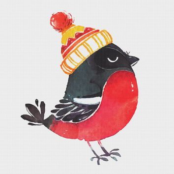 Contemporary Bird in a Knit Hat Hand Embroidery Pattern