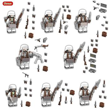 Oenux WW2 8PCS The Battle Of The Caucasus Military Building Block Set Military Special Force Snow Soldiers Figures Brick Kid Toy