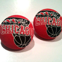 Chicago Bulls black and red nba button earrings