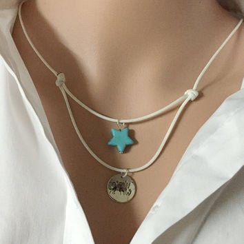 Silver Layered necklace, layered necklace kids, girls layering necklace, layer necklace coordinates, Turquoise, women Personalized jewelry