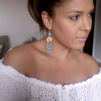 GOLD and Turquoise Chandelier Earrings - Stunning Chandeliers dangle earrings