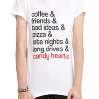 Candy Hearts Coffee Friends Girls T-Shirt