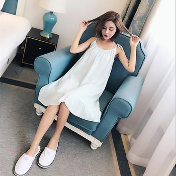 Paula summer thin cotton nightdress lady sweet summer loose sleeveless gown in clothing.