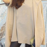 Solid Color Loose-Fitting Hooded Cardigan