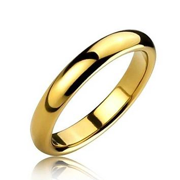 Thin Dome Couple Wedding Band Shiny 14K Gold Plated Tungsten Rings 4mm