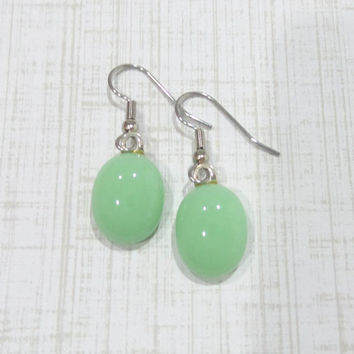 Mint Green Earrings, Pierced Dangle Earrings, Hypoallergenic, Pastel Jewelry, Ear Jewelry - Adoree- 150 -5