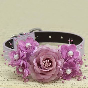 Dusty Pink Floral Dog Collars, Rose flowers with Pearls, Pets Wedding accessory, Handmade puppy gifts