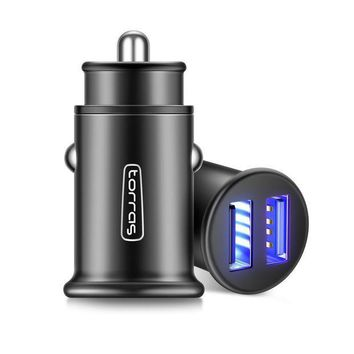 ESBON2D USB Car Charger, TORRAS Metal Flush Fit Dual Port 4.8A Smart Fast Charge Power Adapter Cell Phone Car Charger for iPhone X / 8 / 7 / 6 / 6S, iPad, Samsung Galaxy, LG, HTC and More - Business Black