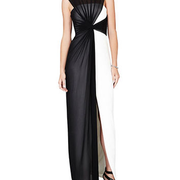 Bcbgmaxazria Colorblock Draped Mesh Gown