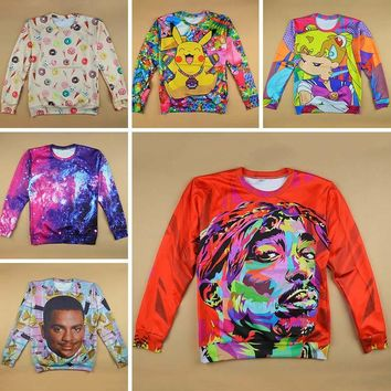 New 3D sweatshirt arrival Tupac/Emoji/Pikachu/Sailor moon/Will smith/Donut/Christmas print hoodies for women male casual sweats
