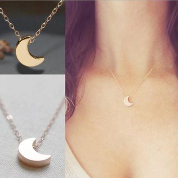 NK317 New Fashion Vintage Moon Pendant Tiny Chains Necklace for Women Jewelry Bijoux Minimalist Kolye Clavicle Collares Summer