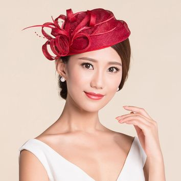2016 European Women Elegant REd Linen Feather Beret Vintage Solid Flower Sinamay Party Fascinatir Wedding Church Hat For Women