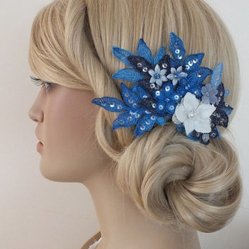 FREE SHIP Ivory blue, navy blue bridal lace hair comb - 3D floral bridal hair comb - bridal lace headpiece - bride hair comb - wedding hair