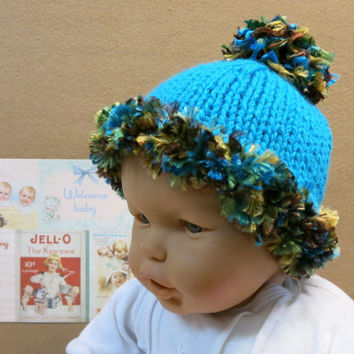 Knitted Baby Hat,  Baby Beanie, Chunky Hat With Pom Pom, Photo Prop, Nchanted Gifts Australia, OOAK