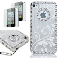 Pandamimi Deluxe Silver Chrome Bling Crystal Rhinestone Hard Case Skin Cover for Apple iPhone 4 4S 4G With 2 Pcs Screen Protector and Silver Stylus