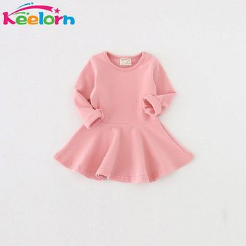 Girls Dresses New Spring Casual Style Pure cotton long-sleeved dress Baby candy color Lovely princess dress