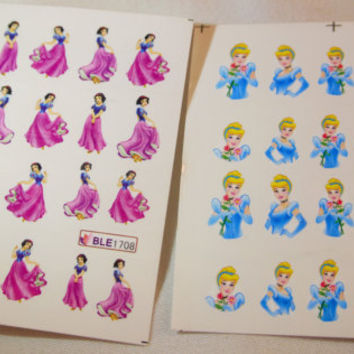 2 sheets of disney princess water transfer nail art, 20 pcs each sheet, snow white and cinderella nail decal