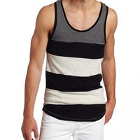 Alternative Men's Amir Tank Top, Black Global Stripe, Small