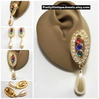 Avon White Teardrop Pearl Crystal Clip On Earrings Gold Tone Vintage Red Blue Green Bead Round Clear Stones Long Dangles White Pads