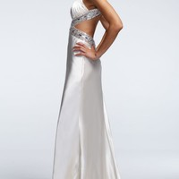 Sleeveless Charmeuse Dress with Beaded Straps - David's Bridal