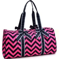 Rosen Blue Large Quilted Duffle Bag with Bow Decor in Chevron Print - Fuchsia