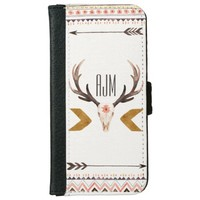 Watercolor Ethnic Deer Head Skull iPhone 6 Wallet Case
