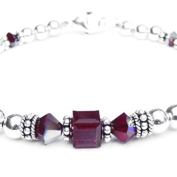 Solid Sterling Silver January Birthstone Bracelets in Simulated Red Garnet Swarovski Crystals