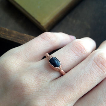 Blue Goldstone Electroformed Copper Ring - Size 6