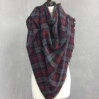 Outlanders Inspired Tartan Shawl Plaid Blanket Scarf Oversize Square Wool Stole Authentic Flannel Boho Men Wrap Woman Gift Checkered Scarf