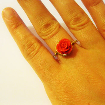 Rose ring, wire wrapped flower ring, rose jewelry, delicate gold ring , rose flower ring, gold minimalist ring, tiny flower ring