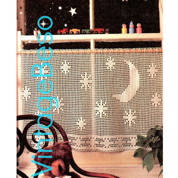 Curtain Crochet Pattern Vintage 1970s CURTAIN Stars and Moon Great for Child's Room Retro Privacy Curtain Instant Download PdF Pattern