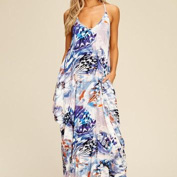 Abstract Butterfly Print Cocoon Maxi Dress