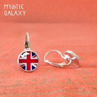 UK Flag Earrings, Union Jack Earrings,Glass Dome Silver Leverbacks, United Kingdom, Britian