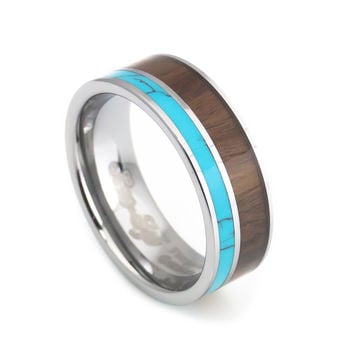 Turquoise Hawaii KOA Inlay tungsten Wedding rings - men 8mm width