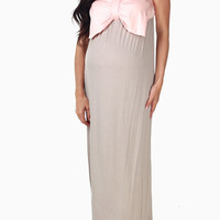 Beige-Pale-Pink-Bow-Colorblock-Maternity-Maxi-Dress