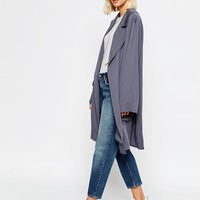 Weekday Oversize Belted Tencel Mac at asos.com