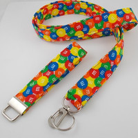 M & M Lanyard with ID Badge Holder and Key Fob