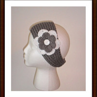 Grey Knit Ear Warmer/Headband/Crochet Flower/Head Wrap