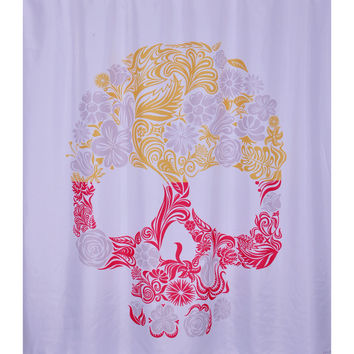 Bathroom Printed Polyester Fabric Skull Flower Style Shower Curtains