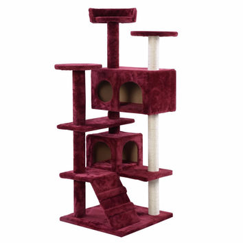 New Cat Tree Tower Condo Furniture Scratch Post Kitty Pet House Play Wine PS5791WINE