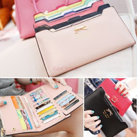 Korean Version of Bow Multi- Card Handbag Long Wallet Clutch SV001289