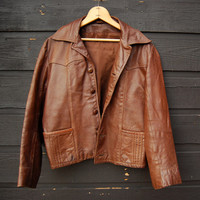 60s 70s Vintage Leather Jacket - Women's Med Lrg Cropped Brown Leather Jacket - Leather N Suede Boho Hippie Jacket - Men's Small