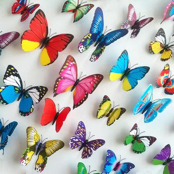 12PCs/lot PVC Wall Decals Butterfly 3D Wall Stickers Home Decor Wall Decals For Kids Room Wall Sticker Flower For Kitchen