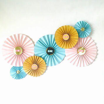 Paper Rosette, Pastel Paper Rosette, Paper Pinwheel, Pastel Pinwheel, Paper Fan, Wedding Backdrop, Wedding Décor, Party Backdrop,Party Décor